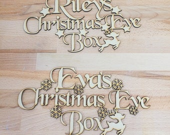 Christmas Eve Box, Personalised Topper, Personalised Xmas, Children's Christmas, Family Christmas, Wood Blank, MDF Shape, Craft Supply
