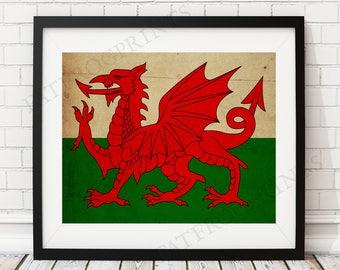Wales Flag Print, Wales Flag Art, Wales Gifts, Antique Flag Poster, Moving Gift, Vintage Flag Wall Art, Wales Art, UK, United Kingdom