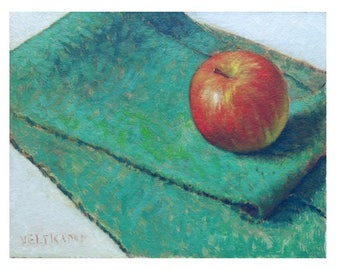 oil painting // still life of apple //artistic work of art // hand-painted impressionism contemporary art