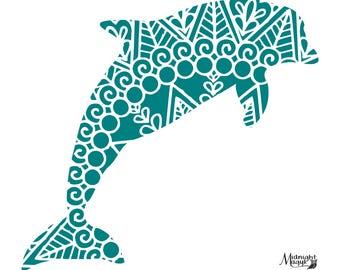 Blue Filigree Dolphin SVG