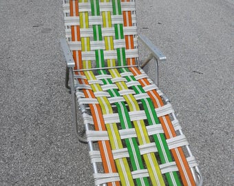 Free Shipping Anywhere!!!  Vintage Mid Century Aluminum Chaise Lounge Lawn Chair