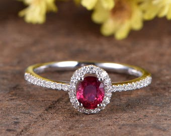 Natural ruby engagament ring rose gold diamond wedding band VS ruby ring 4.2x5.2mm oval ruby wedding ring deco promise ring anniversary ring