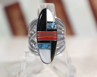 Vintage Zuni Inlay Sterling Silver Ring #E101