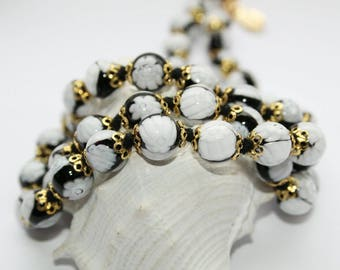 Necklace, necklace and earrings, Murano glass beads, Millefiori beads, black white, Collier, 59 cm