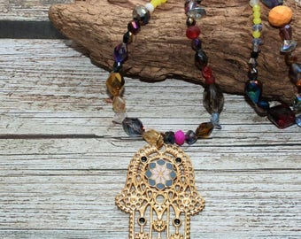 Different shapes, extruded goods, Czech glass beads, Hamsa hand gilded, mixed Beach, 42 cm long, without closure