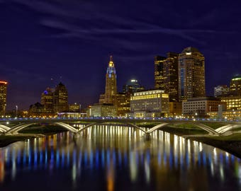 Columbus skyline canvas, Columbus canvas, Columbus Wall canvas, Columbus night skyline art, Columbus photo, Columbus wall art