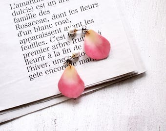 Pink Rose petals Earrings With Pearl [Pierced or Clip-on]