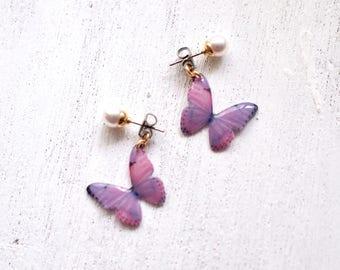 Light Purple Butterfly Earrings With Pearl [Pierced or Clip-on]