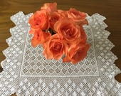 Vintage crochet table centrepiece or vintage tray cloth.
