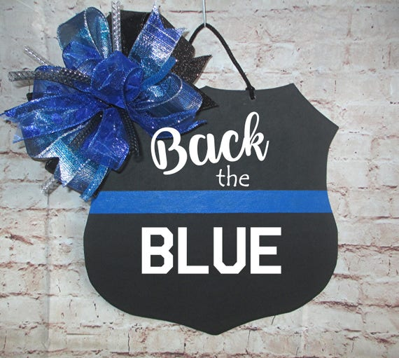 Police Officer Badge Back The Blue Door Hanger