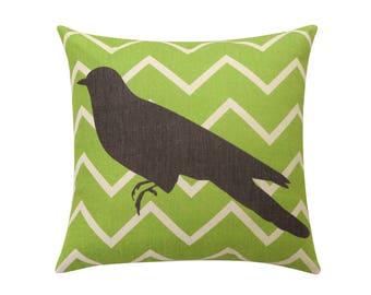 Chevron bird throw pillow covers Cute bird silhouette decorative pillow case Green stripe cushion cover Linen cushion case Home decor 18x18