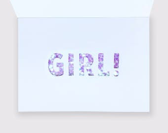 Baby Announcement and Gender Reveal Card - Iridescent Pink Glitter Letters Revealed Inside for a GIRL!