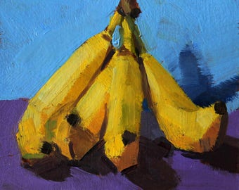 "Small Still Life Oil Painting ""Banana bunch"" 6x6 Original Art on Paper"