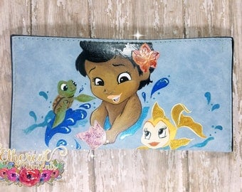 Hand painted small purse, large wallet Moana with fish and turtle