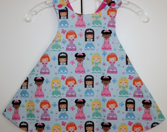2T, Light Blue/Princess Reversible Sundress with Pink.
