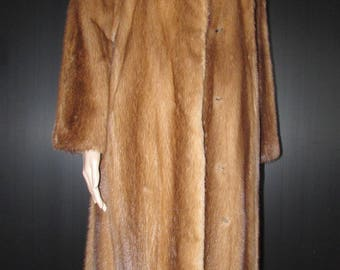 Vtg  très joli manteau de véritable fourrure de vison noisette/ Vitg very nice autumn haze  real mink fur coat    sz medium bust 42