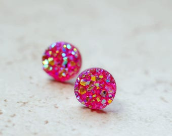 Tiny Hot Pink Druzy Earrings 8mm Round Druzy Earrings Metallic Glitter Magenta Bright Pink Faux Drusy Posts Glittering Stainless Steel Studs
