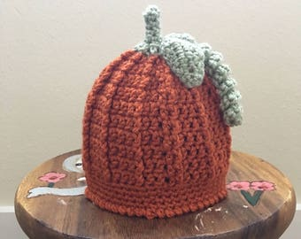 Newborn Pumpkin Hat, Baby Pumpkin Hat, Crochet Pumpkin Hat, Pumpkin Hat