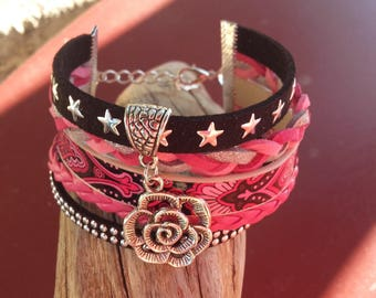 Pink and Black Suede flower Cuff Bracelet