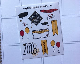 Hand Drawn Graduation Deco Stickers for use in Planners and Bullet Journals - Class of 2018