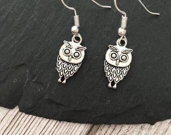 Owl earrings, drop earrings, owl jewellery, bird earrings, animal earrings, hedwig earrings, alernative gift, gift for her, birthday gift.