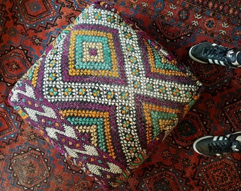 Vintage XXL Moroccan Kilm Rug Floor Cushion Pillow Foot Rest Pouffe Pouf