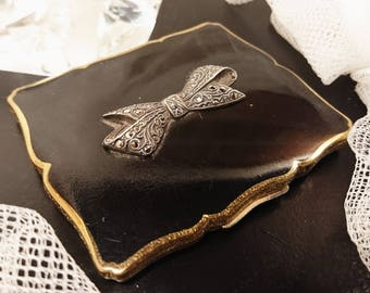Stunning 1950's Stratton compact, black enamel and marcasite, marcasite bow, art deco Stratton compact