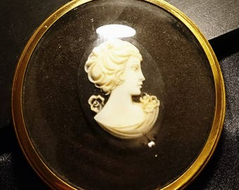 Vintage cameo picture, miniature world of Peter Bates lady in cameo