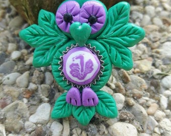 Green Flower necklace, OWL hibiscus Fimo