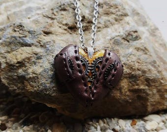 Small Heart Necklace in polymer clay steampunk (pockets)