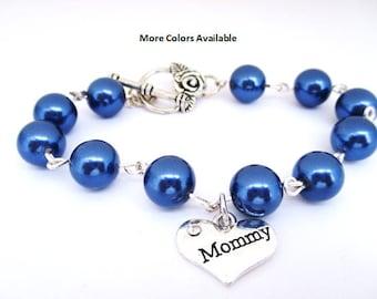 Mommy Pearl & Charm Bracelet - Mommy jewelry-Mommy bracelet-Mommy birthday gift-Mommy bracelet-New Mommy gifts-Mommy-Mother's Day gifts,B546