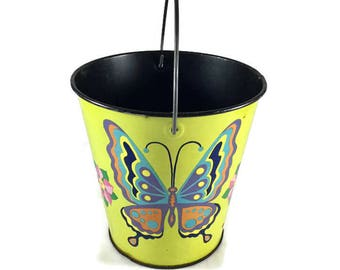 Vintage Sand Pail, Vintage Chein Pail, Butterfly Sand Pail, Mod Sand Pail, Vintage Pail, Retro Sand Pail, Retro Toy,Retro Decor,Garden Decor