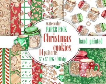 Christmas cookies paper pack. Paper Christmas biscuits watercolor, Christmas sweets digital paper.