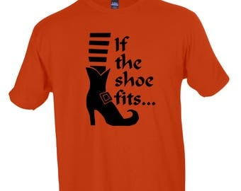 If The Shoe Fits... Funny Witch Halloween Crew Neck Tee Graphic Tee Men's Women's