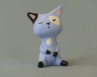 Miniature Blue Cat Clay Figurine