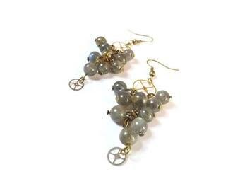 "Steampunk earrings gear and labradorite, ""Les vendanges"""
