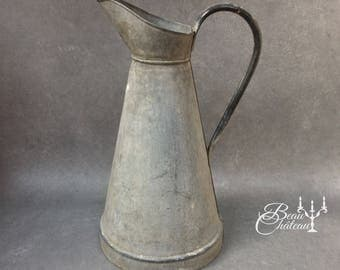 FREE SHIPPING Beautiful Classic Very Large Tall Vintage French Zinc Gray Metal Pitcher Water Jug. Gorgeous stone like appearance