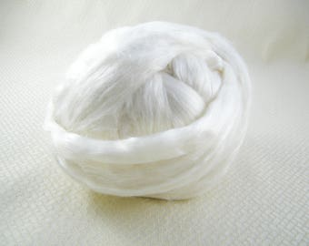 Pure White - Merino/Bamboo/Tussah Silk Roving (50/25/25) - Luxurious - Next to Skin Soft  - Great for Spindles, Handspinning & Felting