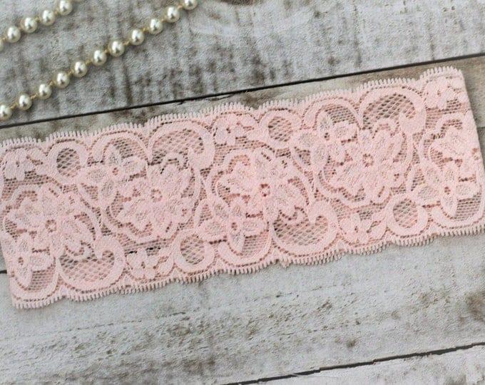 Blush pink wedding garter, pink bridal garter, pink lace bridal garter, simple garter stretchy custom wedding garter rustic