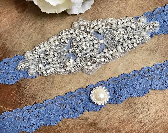 Blue bridal garter Set NO SLIP grip vintage rhinestones, pearl garter set something blur
