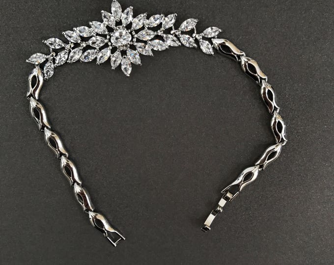 Bridal Bracelet, marquise cut crystal jewelry, bridal jewelry