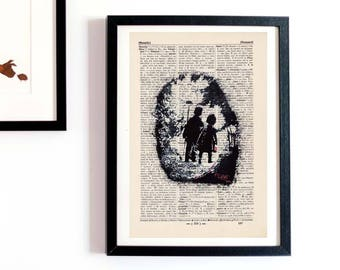 Print bust-girl and boy-on antique page