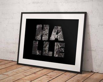 Hall - A4 / A3 print - MapInBlack