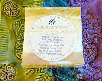 Lemon Ginger & Almond Biscott / Artisan soap / Phthalate Free / Gluten Free / Vegan / Organic oils / Antibacterial!