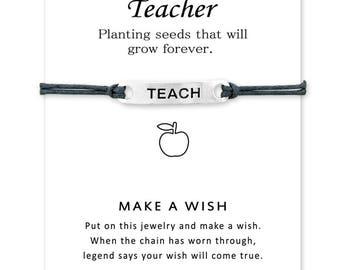 "4 Color Teacher""Teach"" Bracelet Wax strin Rope Knot Bracelet Personality Alloy Hand Stamped Bracelet For Teacher Jewelry"