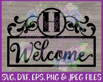 Welcome SVG Flourish SVG Welcome Monogram SVG Initials Svg Welcome Flourish Svg Monogram Svg Last Name Svg Eps Png Dxf Jpg Digital Download