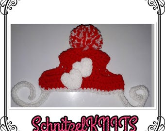 Valentine's Day bobble hat for small dog . Cute Valentine's Day dog hat.mini dachshund chiwawa Yorkshire terrier bobble hat with love hearts