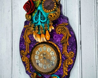 Turquoise Death Clock by Wicked Wall Masks