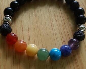 Chakra Diffuser Bracelet, Essential Oil Diffuser, Aromatherapy Bracelet, Beaded Bracelet, Lava Stone Jewelry, Unisex, Gender Neutral, Chakra