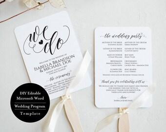 Wedding Program Fan Template, Rustic Wedding Ceremony Program, Instant Download template, Kraft Wedding Program, MSW378
